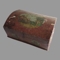 19th Century Domed Small Box Painted Decoupage