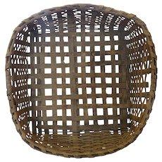 Large Primitive Oak Splint Drying Basket Square 19th Century