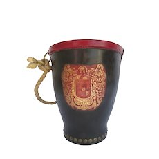 Vintage English Fire Bucket Leather Crest Gilt Tooled