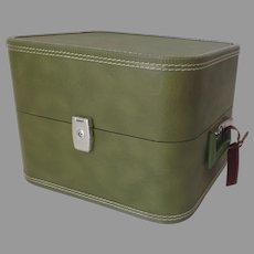 Vintage Avocado Green 1960's Wig Hat Suitcase Vanity