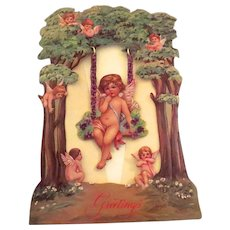 Vintage 1986 Merrimack Victorian Reproduction Greeting Valentine's Day Card Swing that Swings Angel Putti Cherubs