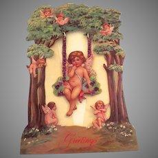 Vintage 1986 Merrimack Victorian Reproduction Greeting Valentine's Day Card Swing that Swings Angel Putti Cherubs