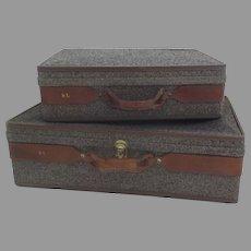 Two Vintage Tweed Leather Hartmann Hardcase Suitcase Luggage