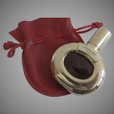 Rare Vintage 1980's Hermes Parfum d'Hermes 1/4 oz Refillable Gold Case Red Leather Drawstring Pouch