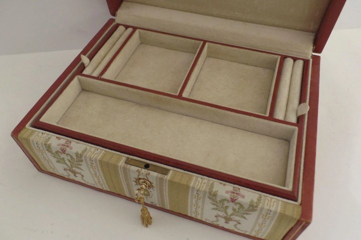 Vintage Fabric and Leather Jewelry Box Key Made in Italy SOLD Ruby