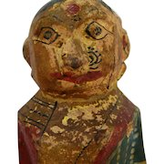 19th Century India Indian Painted Wooden Wedding Bridal Sari Doll Hindu Bengal Putali