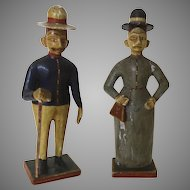 Pair of Late 19th Early 20th Century Carved Painted Figures Peru Peruvian Colonists