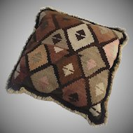 Vintage Cushion Pillow Made from Old Kilim Fringe