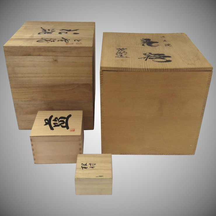 Group Vintage Japanese Storage Vase Boxes Calligraphy Chop Mark Kiri