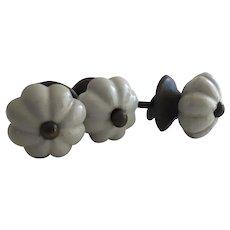 Set of 3 Vintage White Ceramic Knobs