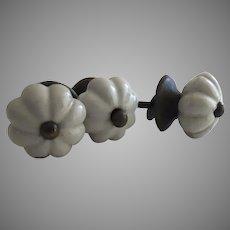 Set of 5 Vintage White Ceramic Knobs