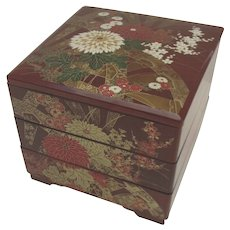 Vintage Japanese Japan Lacquered Stacking Box Boxes