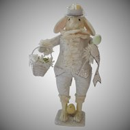 """Large Vintage Bethany Lowe Easter Bunny Rabbit Banner Chicks Basket Top Hat and Tails 18"""""""
