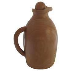 Vintage Manzoni Pietro Hand Made in Italy Sycamore Wood Pitcher Carafe Insulated Italian Italy