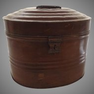 French Tole Painted Metal Hat Box 19th Century