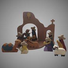 1988 Handmade Painted Wood Cutout Mission Church 12 Piece Nativity Set Signed Elaine