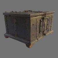 17th Century European Box with Iron Strap Work