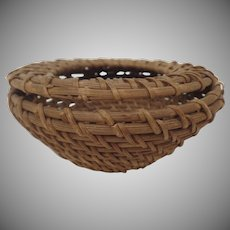 Vintage Pomo California Small Gathering Basket Feather