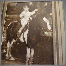 Cute Boy Kid Child on Pony Horse Portrait Vintage 1930's in Matt Folder