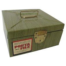 Vintage Retro Ballonoff Office Metal Porta File Storage Faux Wood Green