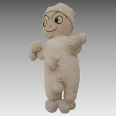 Vintage Folk Art Rag Sock Knit Doll Pompoms Hat Embroidered Face