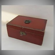 English Red Paper Box Sewing Jewelry Letter c 1830