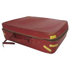 Vintage 1960's All Red Leather Suitcase Luggage