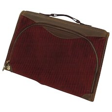 Great Vintage Saks Fifth Avenue Leather and Corduroy Suitcase