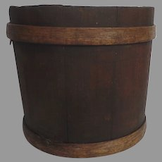 Banded Wooden Sap Syrup Bucket Firkin Trash Can Waste Basket Bin