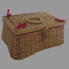 Vintage 1960's Wicker Sewing Basket Box Lid made in West Germany