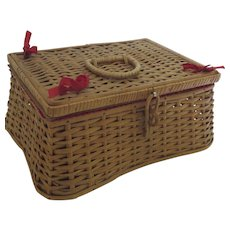 Vintage 1960's Wicker Sewing Basket Box Lid made in West Germany