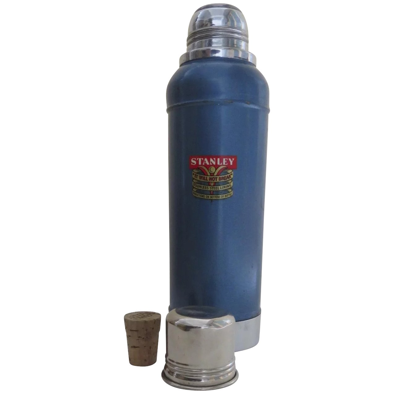 Vintage Stanley Super Vac Thermos and Cork Dated 3-1949 New Britton, Conn   Blue