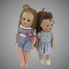 Two Vintage Horsman 1950's 1960's Dolls As Is