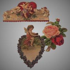 Group of Vintage Embossed Valentine Card Angels