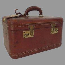 Vintage 1950's 1960's All Leather Vanity Suitcase Prop