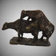Bronze Two Cows by Erik Varming Signed Dated 1967 Danish