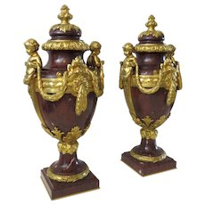 Pair of French Marble and Ormolu Covered Vases Urns by Ferdinand Barbedienne