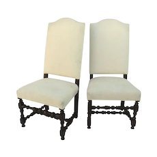 Pair Of French 17th Century Walnut Side Chairs