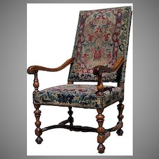 French Walnut Louis XIII Arm Chair Needle Work Upholstery