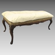 French 19th Century Rosewood Cabriole Leg Window Seat Stool Bench