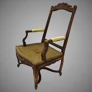 French Regency Period Walnut Carved Arm Chair 18th Century