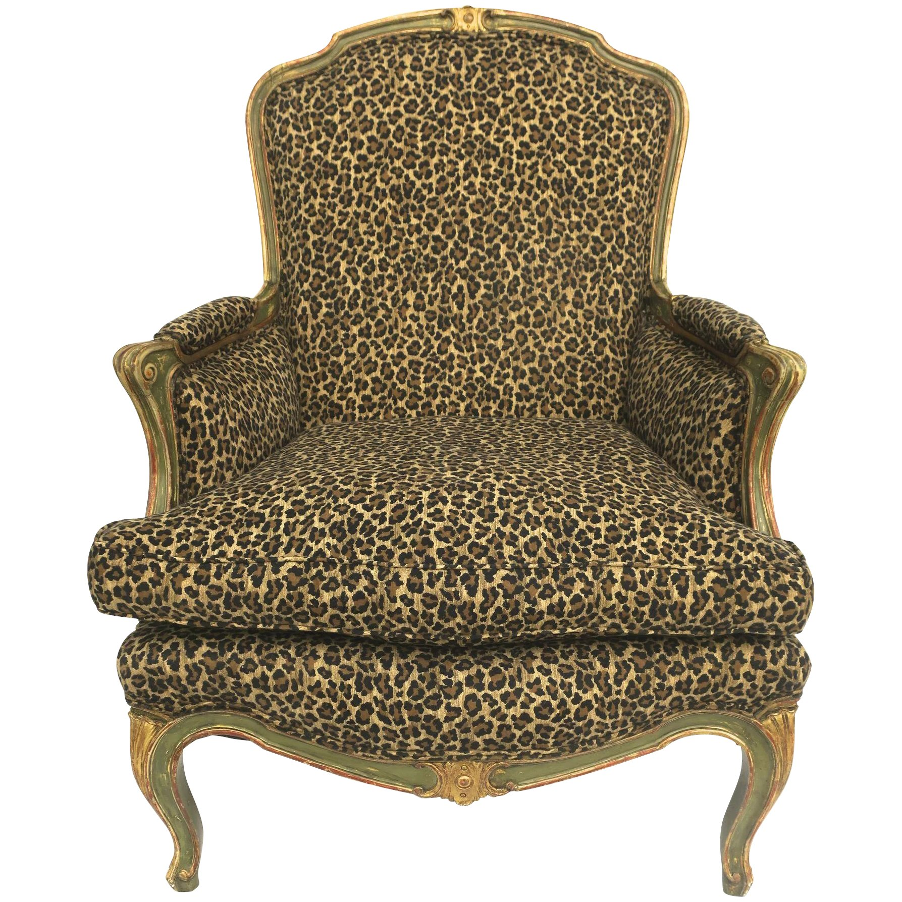 LOUIS XV ARM CHAIR FRENCH STYLE CHAIR VINTAGE FURNITURE LEOPARD BLACK WOOD