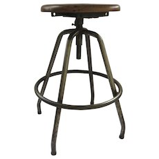 Vintage 1930's Very Nice Drafting Architectural Stool Industrial