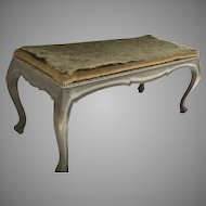 Vintage Long Cabriole Leg Stool Bench Painted Grey Finish 1970's