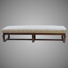 Mid Century Walnut Box Stretcher Long Bench 80""