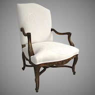 19th Century Regency Style French Walnut Arm Chair