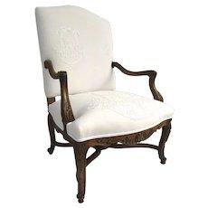 19th Century Regency Style French Walnut Arm Chair