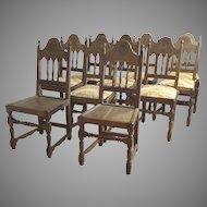 Set of 10 Vintage Walnut Chairs 1920 Spanish revival by  Kensington MFG. Company Furniture.