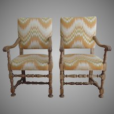 Pair of Vintage Walnut Arm Chairs 1920 Spanish Revival by Kensington MFG. Company Furniture.