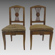 Pair of Early 19th Century Italian Side Chairs with Geometric and Floral Inlays
